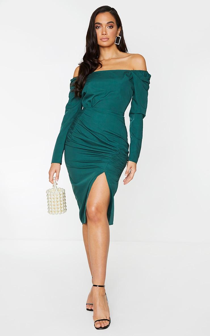 Emerald Green Bardot Pleated Ruched Detail Midi Dress