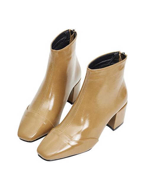 素面亮漆粗跟短靴