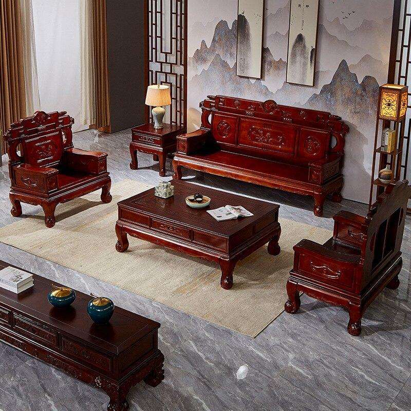 【家具大翻新】實木沙發組合紅樺木沙發明清仿古中式客廳雙人三人位小戶型木沙發 【新年禮品】