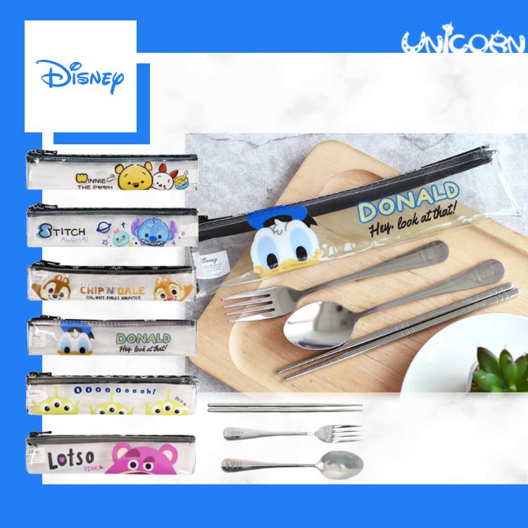 -六款-正版迪士尼304不鏽鋼環保餐具組(附防水收納袋) 湯匙+筷子+叉子套組 便攜餐具【EL1100101】Unicorn