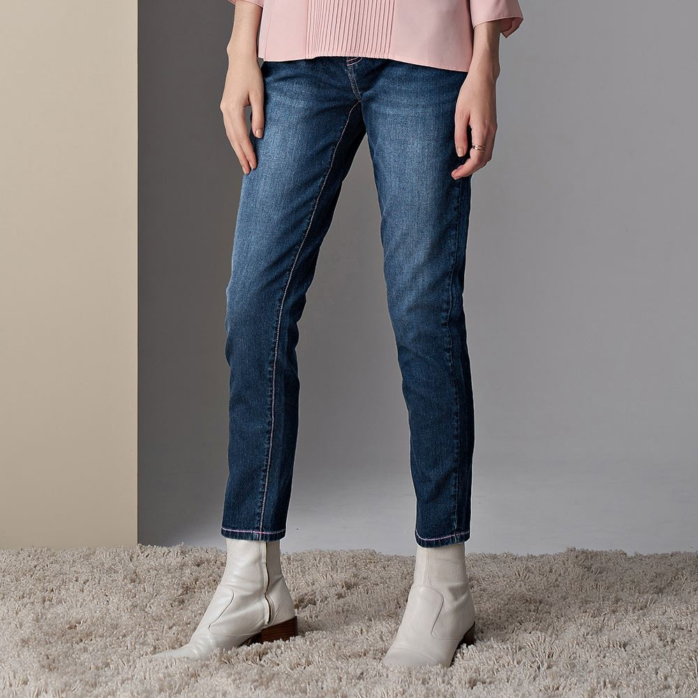 ILEY伊蕾 俏皮明線車縫修身窄管褲(藍)059614