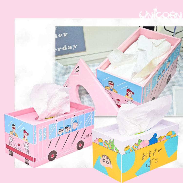 -兩款-正版蠟筆小新木質面紙盒 衛生紙收納盒 面紙套 紙巾套 居家收納【AS1091032】Unicorn