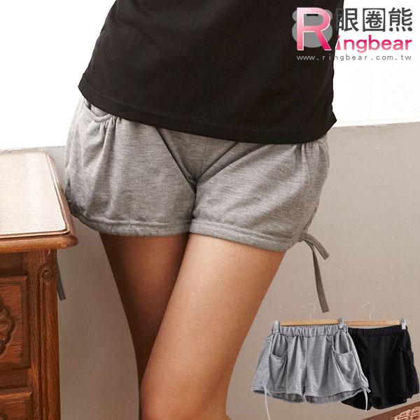 短褲--絕佳舒適雙口袋褲腳抽繩設計素面棉質短褲(黑.灰M-2L)-R90眼圈熊中大尺碼