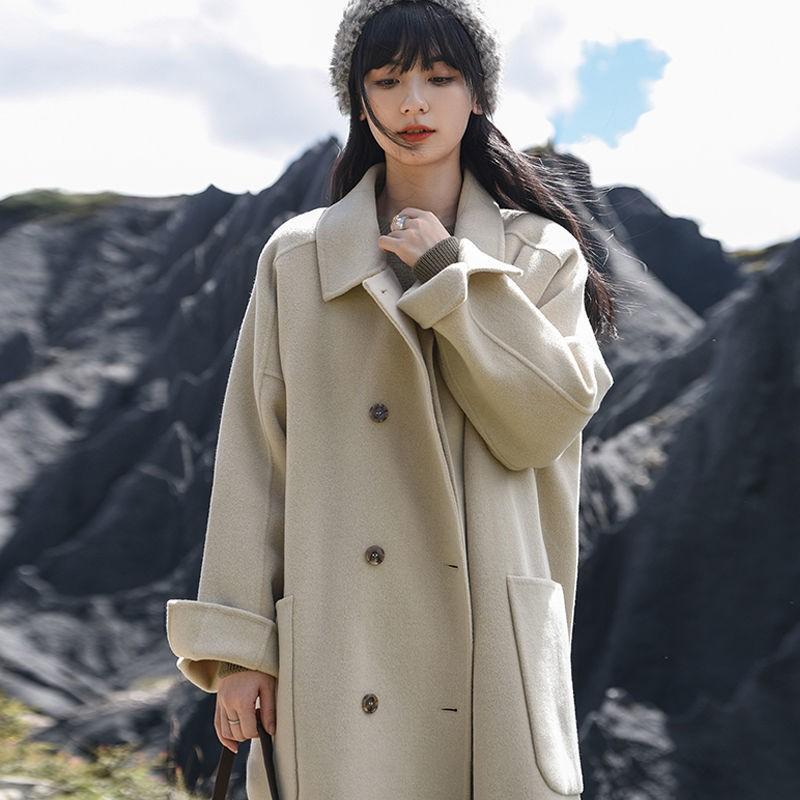 韓版大衣 毛呢大衣 女生大衣 毛呢外套 中長款大衣女新款冬季毛呢子外套