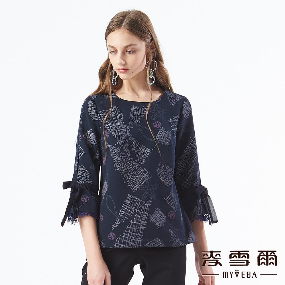 【麥雪爾】趣味塗鴉海星蝴蝶結蕾絲袖上衣