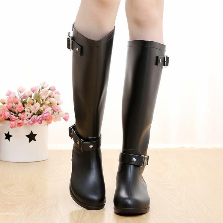 雨鞋 時尚高筒雨靴搭扣紅拉鍊韓版水鞋女式防水馬丁靴雨鞋雪地靴機車靴