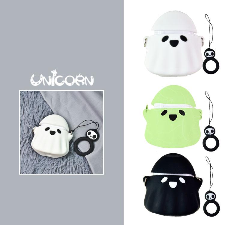 -三色-小幽靈(附小吊飾) 蘋果AirPods專用耳機盒保護套 收納套矽膠套【AS1080805】