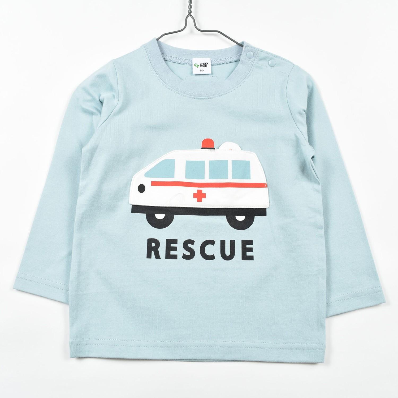 日本 Baby Room - 純棉立體翻翻樂長袖上衣-救護車出動-藍