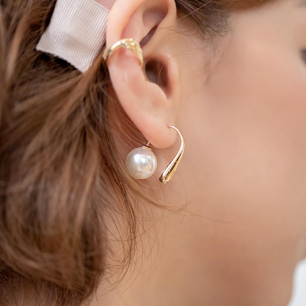 水滴流線後掛式珍珠耳環-A60136