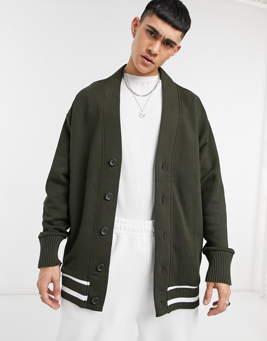 ASOS DESIGN extreme oversized jersey cardigan in forest green