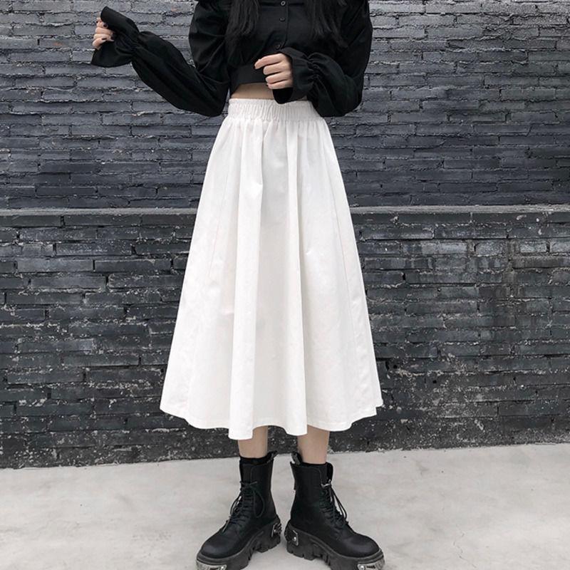 素面鬆束腰a字裙中長裙大擺裙韓版氣質款洋氣性感百搭韓妞必備chic風時尚半身裙過膝裙女