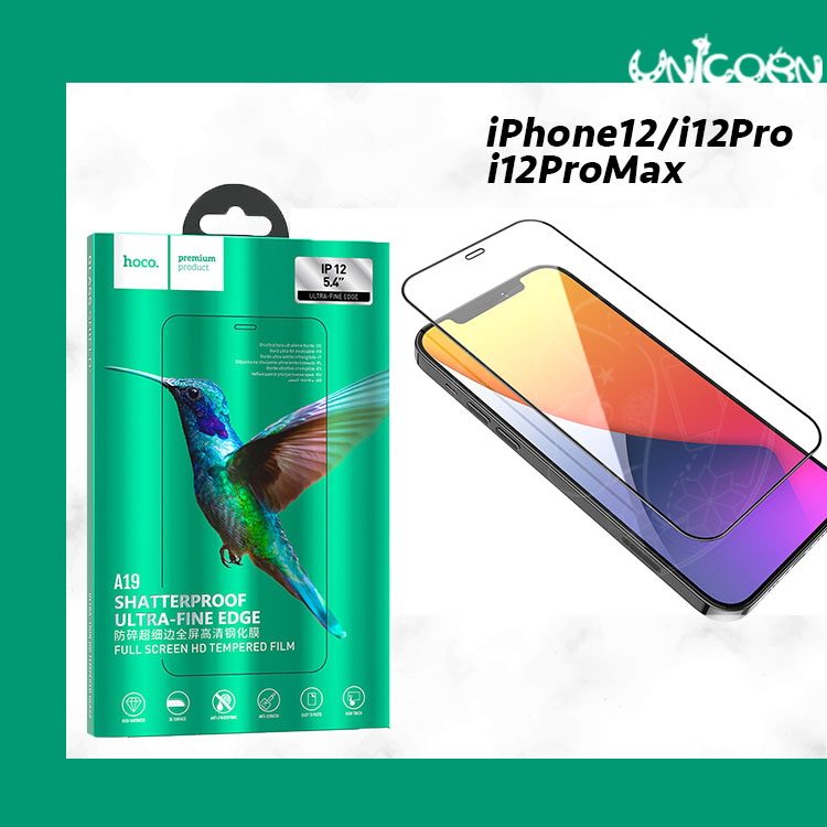 iPhone12系列-hoco浩酷 2.5D A19防碎細邊滿版鋼化保護貼 玻璃貼 玻璃膜 i12 i12Pro i12mini i12ProMax【GS1090904】Unicorn手機殼