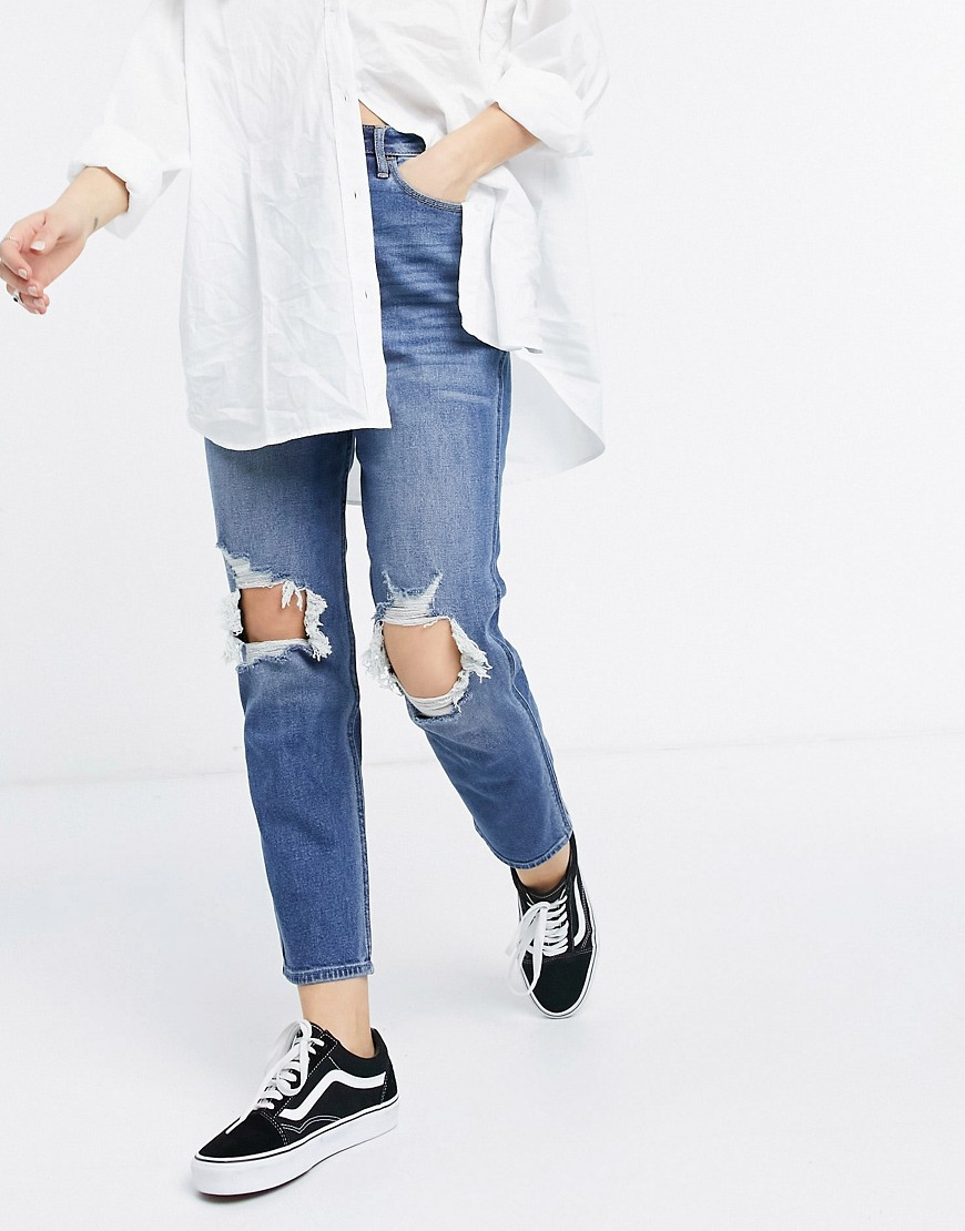 Hollister curvy fit high rise jeans in midwash blue