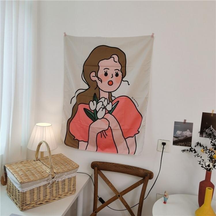 布藝掛畫 INS掛布背景牆壁布藝掛畫床頭臥室掛毯學生宿舍房間裝飾布置