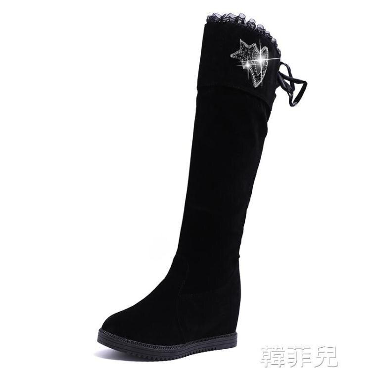 膝上靴 時尚女式中長筒靴秋冬新款歐美英倫絨面圓頭低跟內增高時裝靴