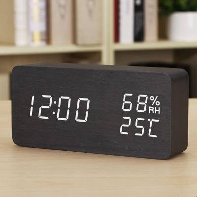 電子鬧鐘時尚 創意電子鐘錶夜光靜音鬧鐘 溫濕度計學生床頭鐘木座台鐘 娜娜 新年春節 送禮