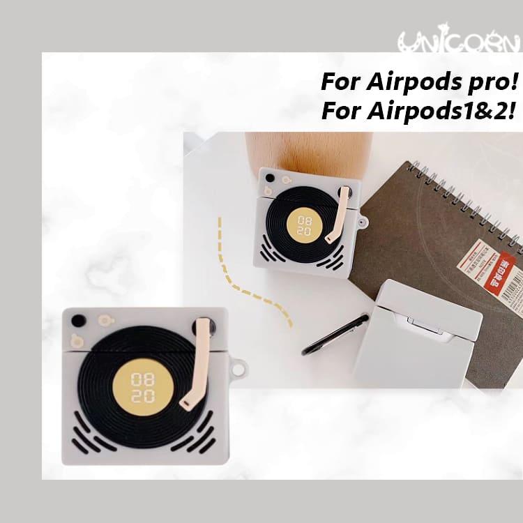 灰黑膠唱片機 蘋果AirPods Pro3代 & AirPods 1/2代專用 耳機盒保護套 收納套【AP1090616】Unicorn手機殼