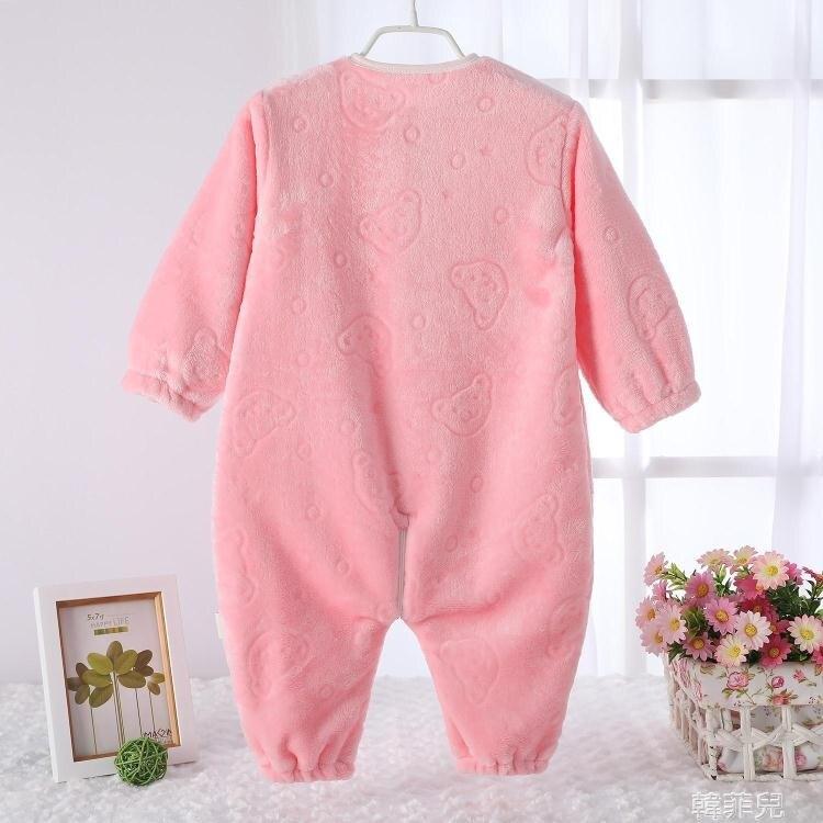 嬰兒睡袋 嬰兒睡袋兒童秋冬季加厚法蘭絨連身睡衣新款珊瑚絨寶寶分腿防踢被