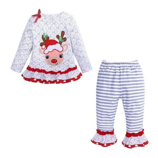 長袖套裝 聖誕麋鹿 長袖上衣 條紋長褲 二件式 紅白卡通 長袖洋裝 SK9434