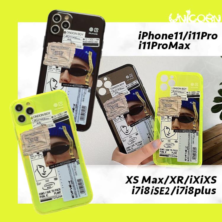 -兩色-墨鏡男標籤拼貼 空壓全包軟殼 保護殼 iPhone手機殼【CO1090608】Unicorn手機殼