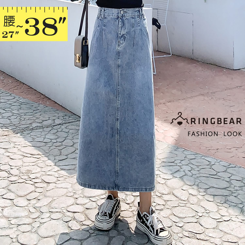 牛仔裙--百搭修身超顯瘦高腰寬鬆後下擺開衩牛仔長裙(藍M-5L)-Q130眼圈熊中大尺碼