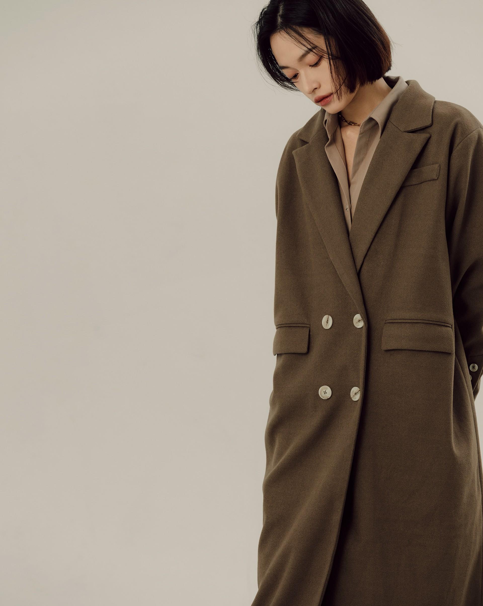 雙排釦長版西裝大衣-Meierq