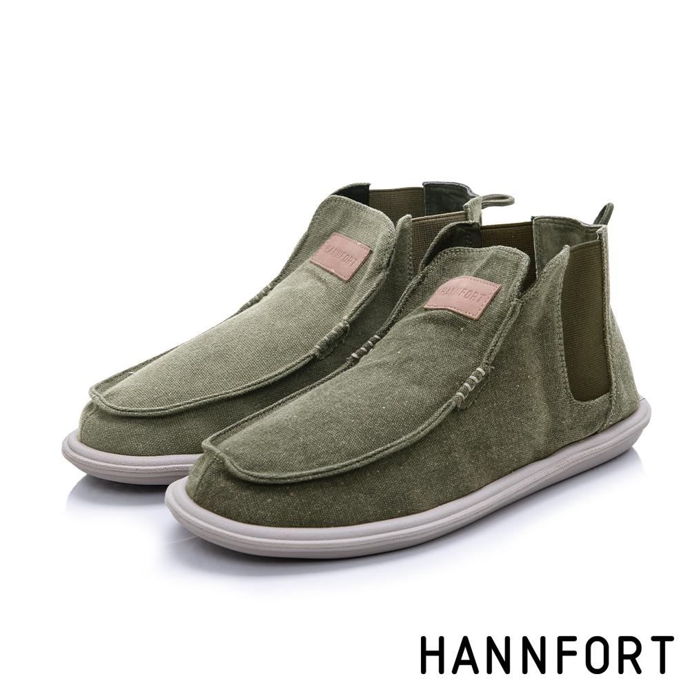 HANNFORT COZY可機洗帆布氣墊懶人鞋-男-軍墨綠