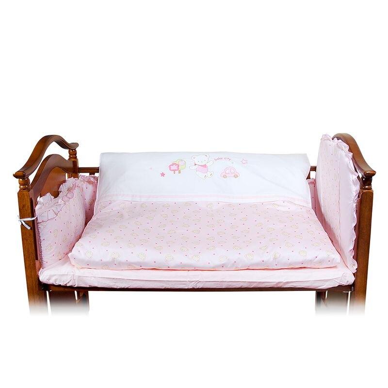 Baby City 幸福小床(白色)+床墊+寶貝熊六件組★愛兒麗婦幼用品★