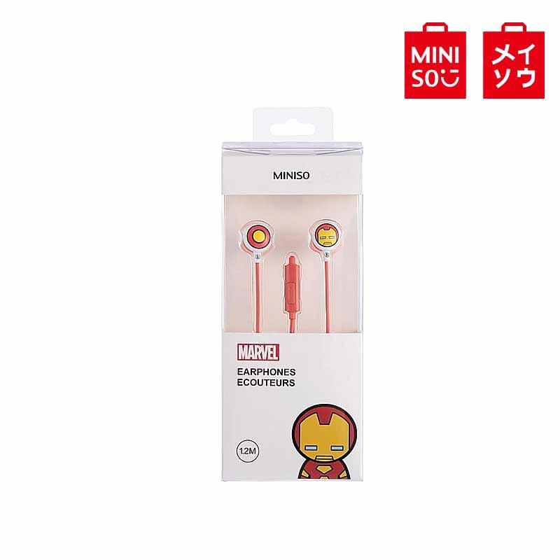 【MINISO名創優品】漫威-卡通入耳式耳機(含麥克風),型號:TSD-M01,鋼鐵俠