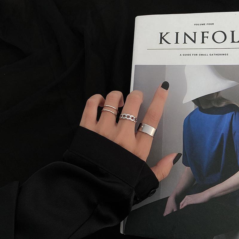 麻花素圈套裝組合戒指女ins潮酷網紅時尚個性開口可調節食指尾戒