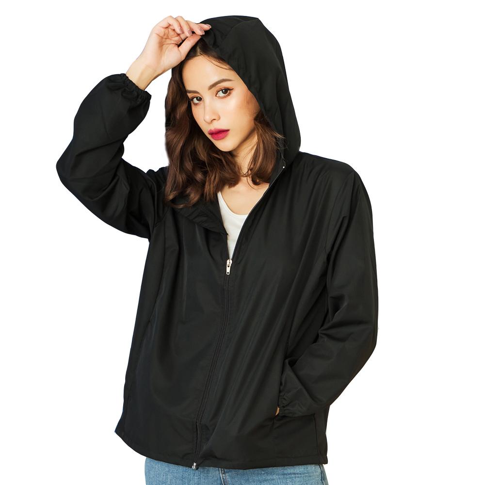 [台灣 GIAT] UPF50+防潑水機能風衣外套 - 基本黑