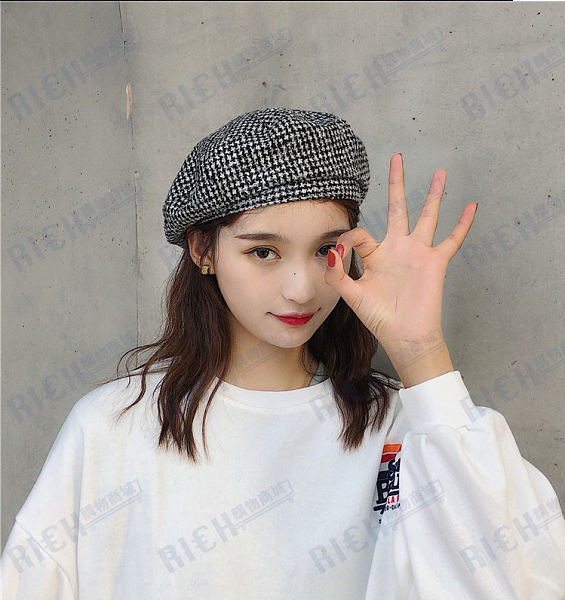 韓國原宿貝雷帽女秋冬時尚小格子學生帽韓版百搭復古畫家帽時裝帽