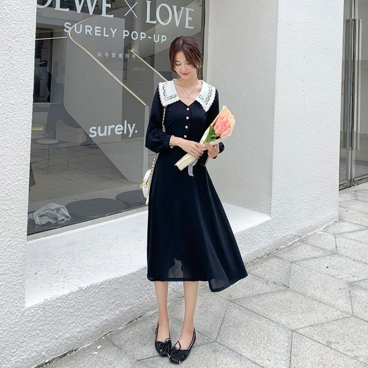 長袖洋裝 秋季大碼女裝蕾絲娃娃領長款赫本風小黑裙氣質法式連衣裙長袖P925