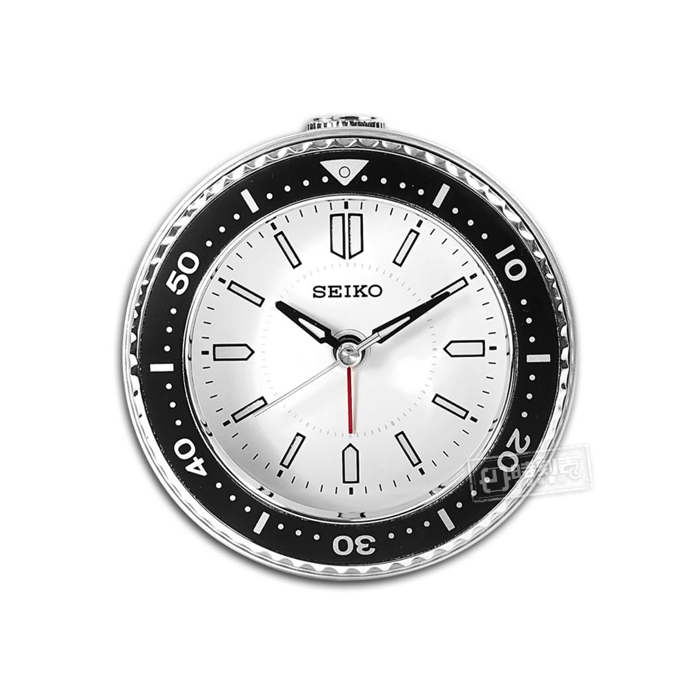 SEIKO 精工 / 潛水錶造型 滑動式秒針 燈光照明 貪睡鬧鈴 指針靜音鬧鐘 - 白色 #QHE184J