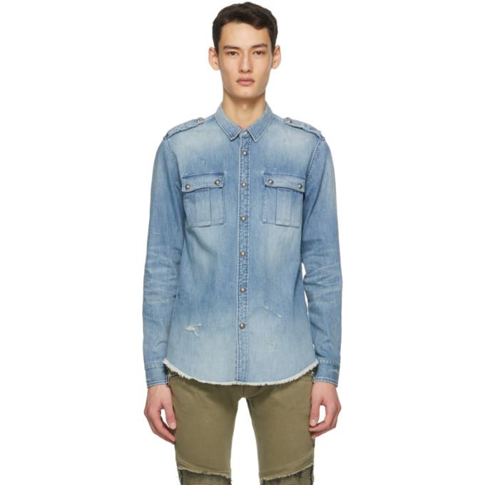 Balmain 蓝色徽标压花牛仔衬衫