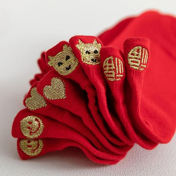 紅襪子 保暖棉襪大紅襪子地板襪潮流2021禮物男士福字淺口一對國潮女士【快速出貨八折下殺】