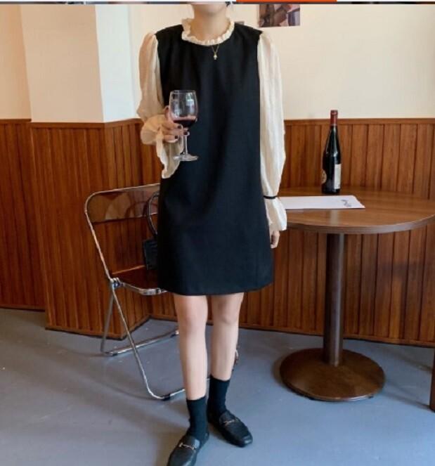 網紗拼接收腰顯瘦氣質溫柔風連衣裙