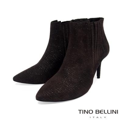 Tino Bellini 義大利進口羊皮輕奢閃爍質感尖頭踝靴_咖啡