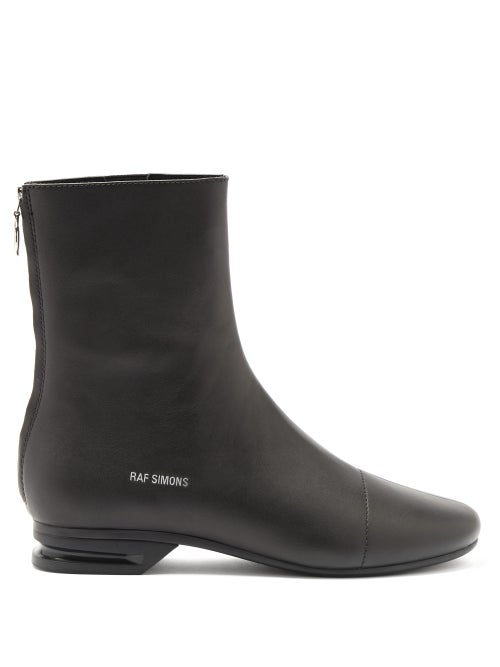 Raf Simons - Notched-heel Zipped Leather Boots - Mens - Black