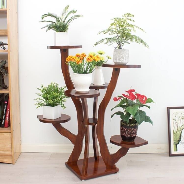 花架 客廳實木花架室內落地多層木質綠蘿植物置物架中式簡易木頭花架子 --如梦令-精品优选-品质保证--如梦令-精品优选-品质保证