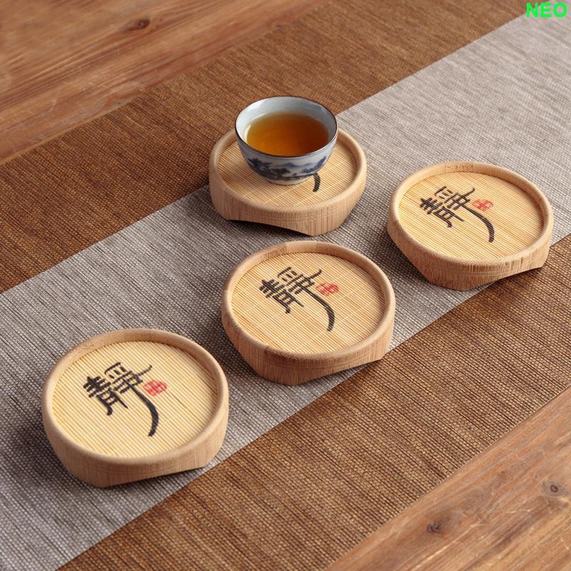 【朵朵雲裝飾】功夫茶杯墊隔熱墊茶道創意竹子小茶杯墊竹茶托茶墊托竹制茶壺墊托