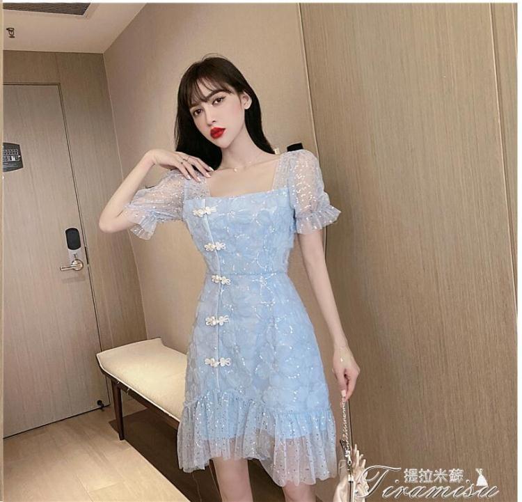 夯貨折扣!蕾絲洋裝 珠片花朵蕾絲網紗刺繡泡泡袖改良少女旗袍復古連衣裙