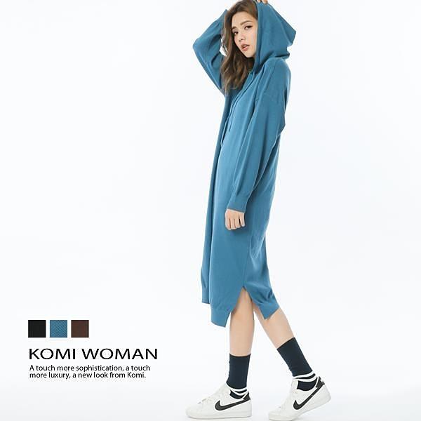 【南紡購物中心】KOMI-連帽針織混毛長花苞洋裝‧三色