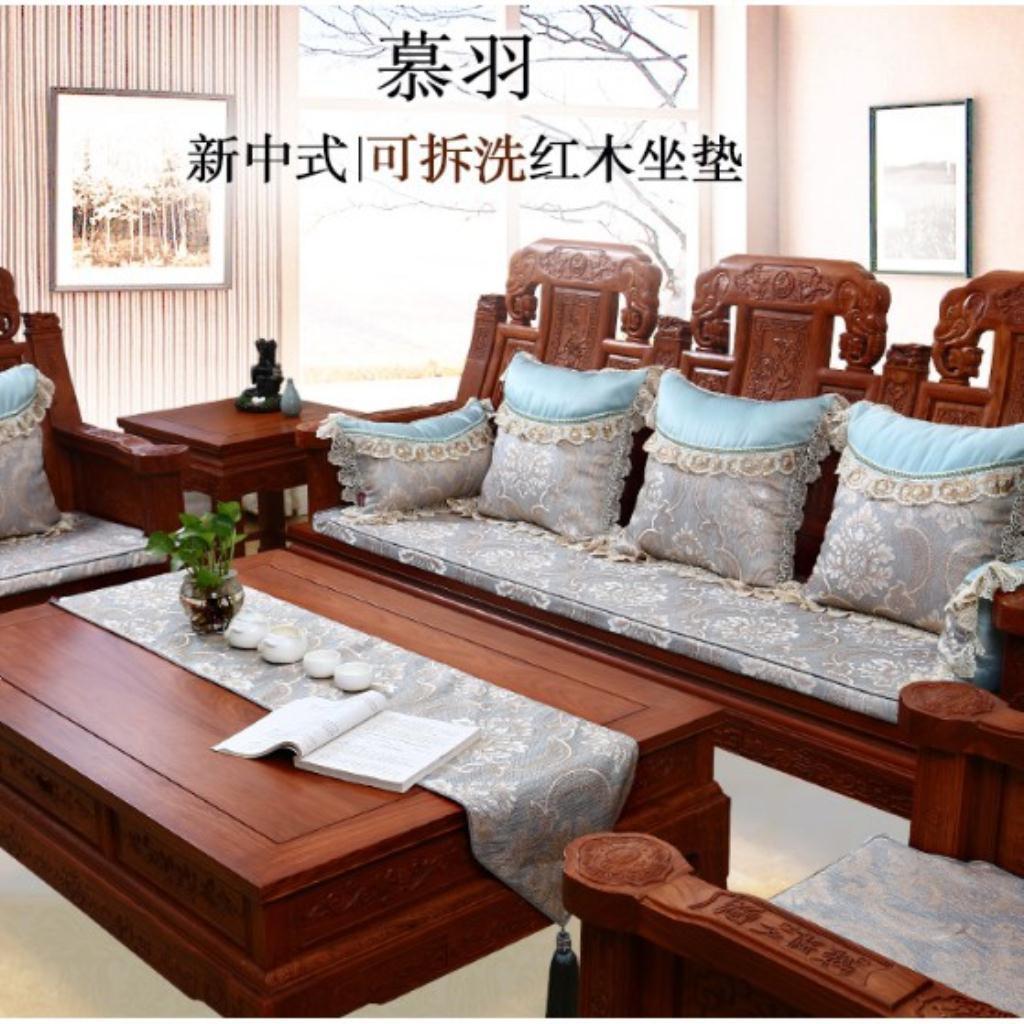 中式紅木沙發坐墊定做四季實木傢俱沙發墊羅漢床墊子五件套