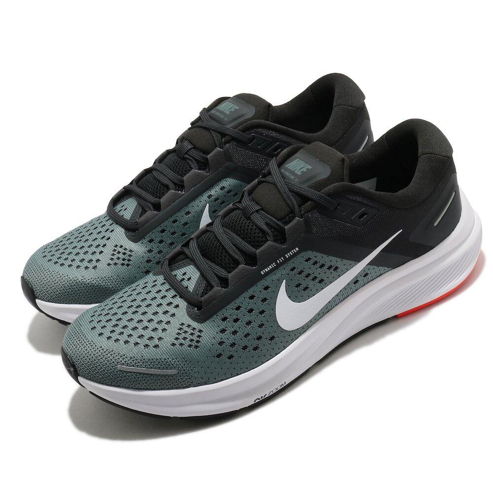 NIKE 慢跑鞋 Zoom Structure 23 男鞋 氣墊 舒適 輕量 透氣 路跑 健身 黑 綠 [CZ6720-300]