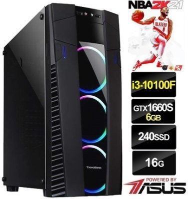 2K21】十代 I3 四核心 華碩 GTX1660S 超頻 飇16G 電競 SSD 主機 電腦【虹彩6號 特戰英豪 吃雞