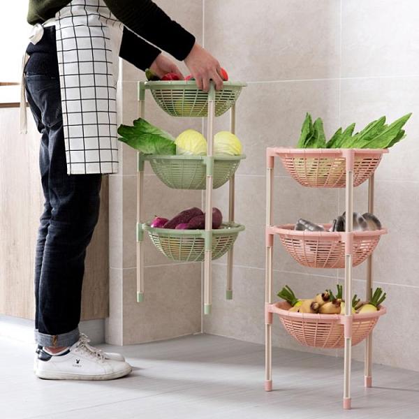置物架落地菜籃子收納筐水果蔬菜架子廚房收納架多層【奇妙商鋪】