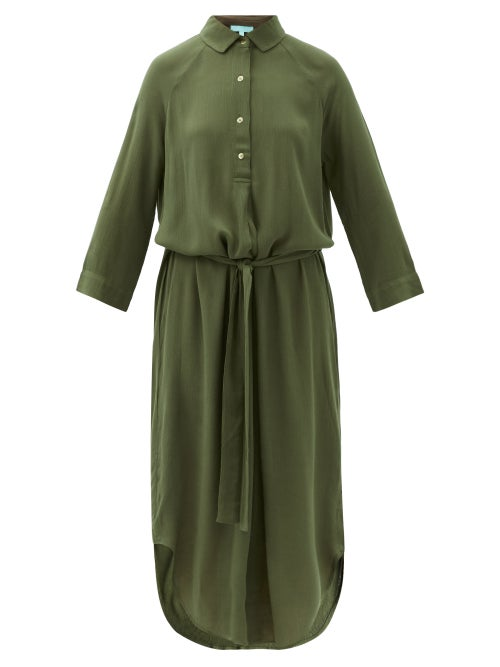 Melissa Odabash - Alesha Belted Slubbed Shirt Dress - Womens - Dark Green