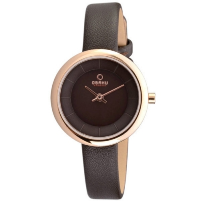 OBAKU 雅悅媛式時尚腕錶-咖啡色-V146LVNRN-27mm