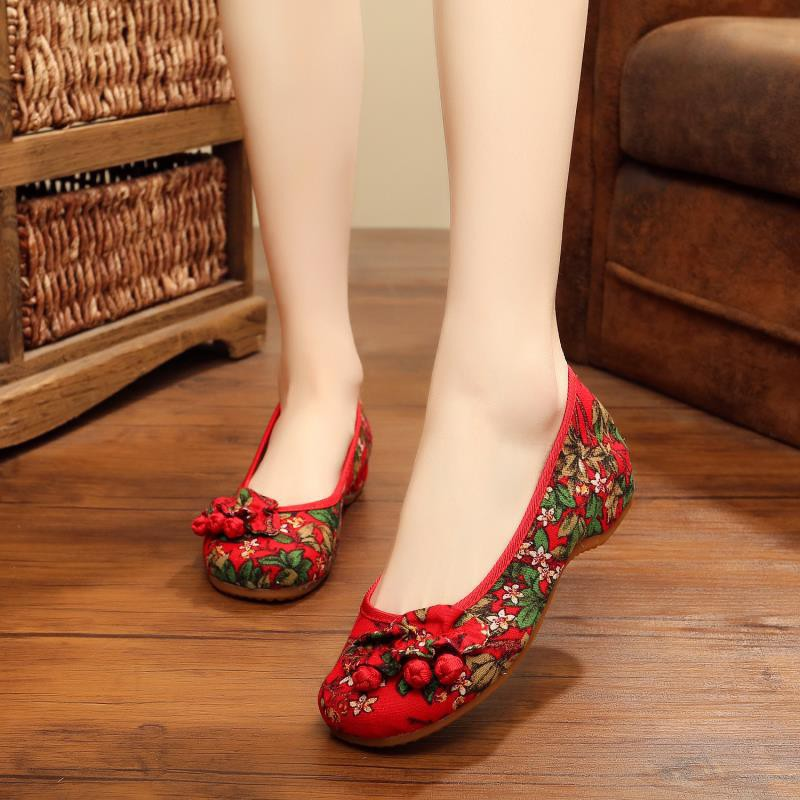 502-2 老北京布鞋女民族風繡花鞋舞蹈布鞋內增高媽媽休閑單鞋